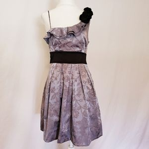 Speechless One Shoulder Gray Floral Brocade Dress